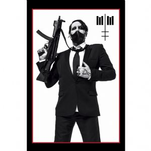 Marilyn Manson Machine Gun large fabric poster / flag 1100mm x 750mm (rz)